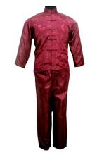 Free shipping ! Navy blue Men's Polyester Satin Pajama Sets jacket Trousers Sleepwear Nightwear SIZE S M L XL XXL XXXL M3020(China (Mainland))