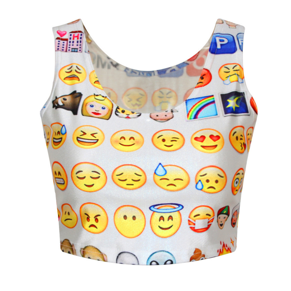 2015 New Summer Women Emoji Tank Tops Printed Crop Tops Ladies Tops Sleeveless Female Shirt Short Vest Woman Camisoles Colete(China (Mainland))