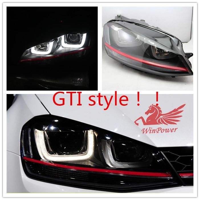 VW golf 7 headlight GTI style angel eyes with DRL function 2013 2014 Volkswagen Golf mk7 GTI headlamp V3(China (Mainland))