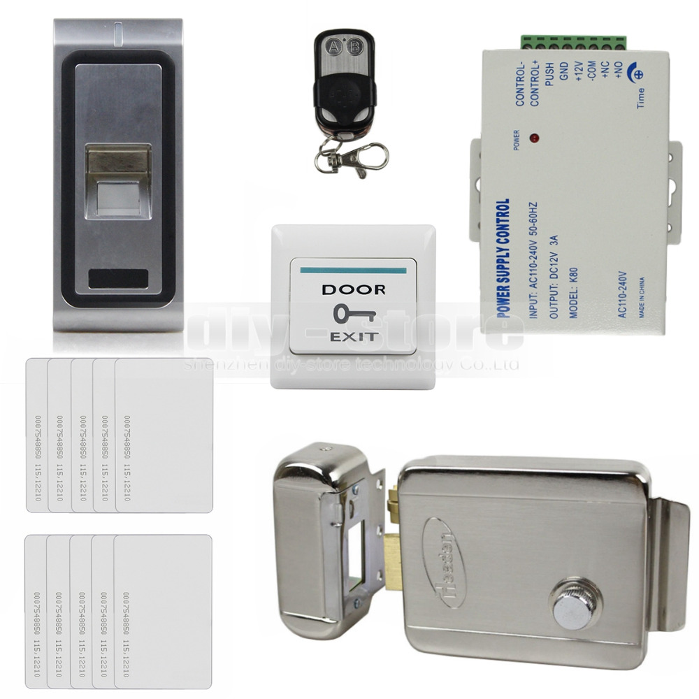 Remote Control Fingerprint 125KHz RFID ID Card Reader Door Access Control System Kit + Electric Lock(China (Mainland))