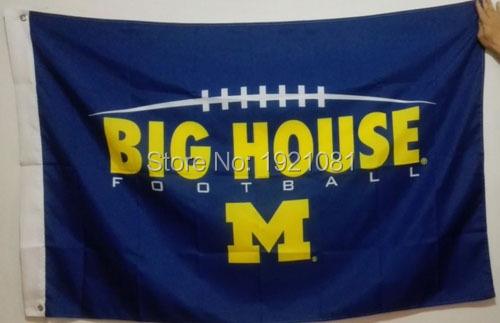 University of Michigan Wolverines Big House Football Club College Flag 3'X5' custom sports Flag(China (Mainland))