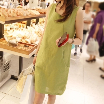 Cotton and linen dress summer new small pure and fresh literature female is big yards dress linen dress sleeveless vest(China (Mainland))