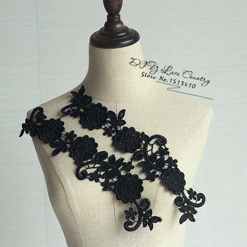 (5pairs/путешествия) черный шитья цветочные Цветочный мотив кружева аппликация ,Свадебные вышивки кружева патч