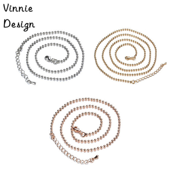 2015 High Quality Ball Chain for Coin Pendant Necklace Silver Gold Rose Gold Plated 80cm Long Bead Chain 10pcs/lot <br><br>Aliexpress
