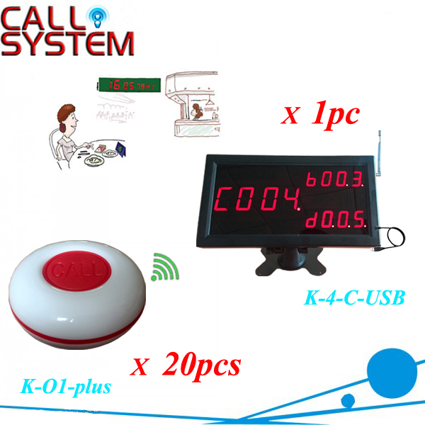 CE Approved Restaurant wireless paging system 20pcs table buzzer with 1 monitor connent to PC show all information(China (Mainland))