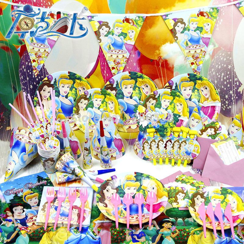 2014 New Arrival 90PC/Lot Snow White Princess Theme Party Set Kids Birthday Paper Party Supplies()