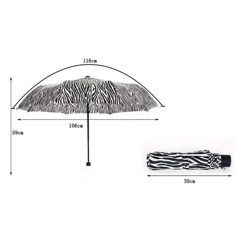 zebra patterns folding beach umbrella black coating parasol UV sunny ...