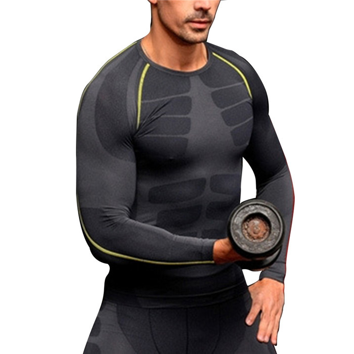 252c097d3b7 Men Compression Long Sleeve O-Neck Sports Tight T Shirts Fast Drying  Fitness GYM Base Layer Tops M-XL New Arrival