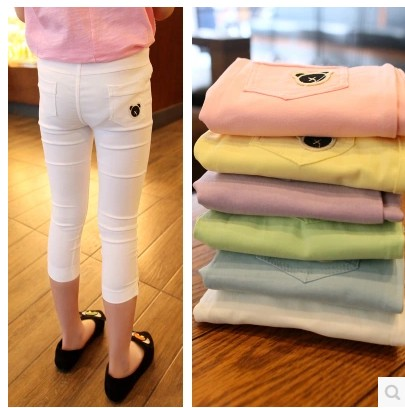 Girl Pant Direct Selling Girl Legging Jeans 2015 New Arrival Real Calf-length Solid Girls Skinny Zipper Fly Pants & Capris(China (Mainland))