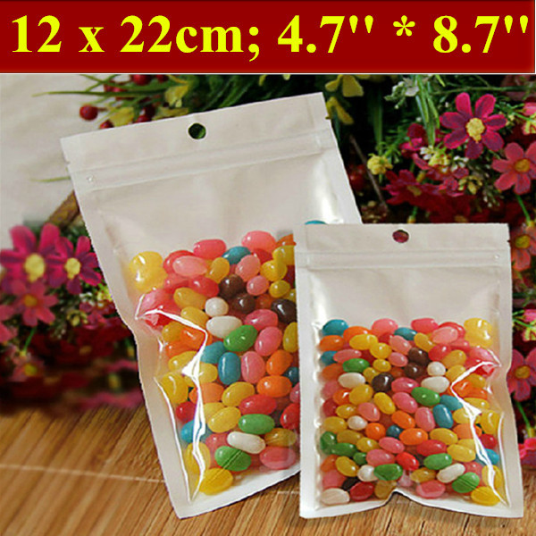 200pcs/lot 12x22cm (4.7'' * 8.7'') Thickness 160mic Laminated Food Bag,Clear Pearl Plastic Bag,Pearl Film Plastic Bag,Polybags(China (Mainland))