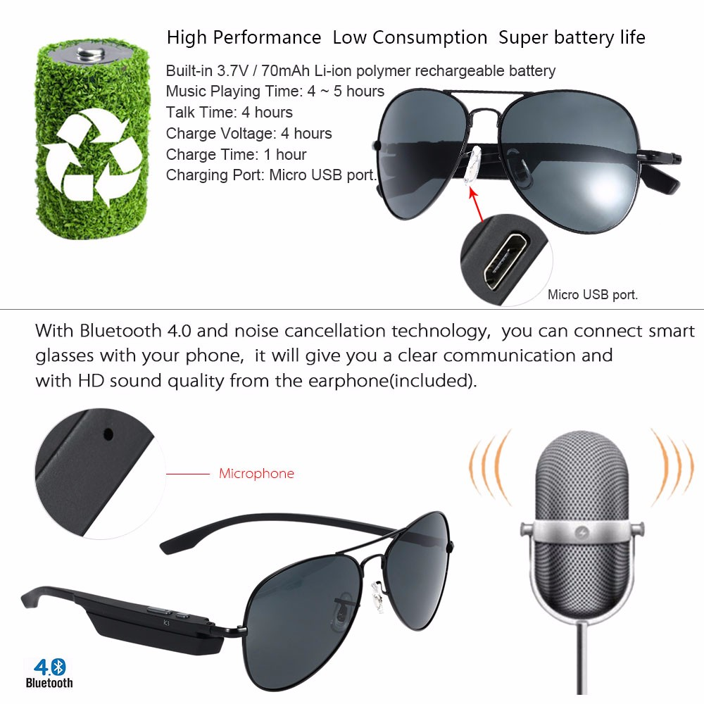 Bluetooth Wireless Sunglasses Wearphone Polarized Glasses Voice Control Phone Call Sports Smart Earphone Anti UV Resist Glare