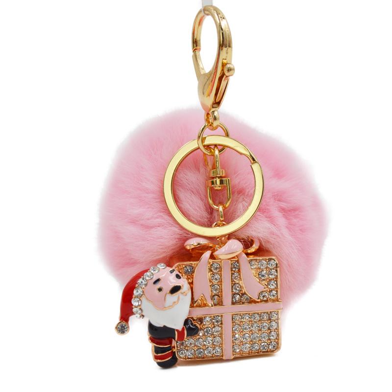 Santa Claus Fur Pom Pom Keychain Phone Bag Pendant key Chain Ring Holder Key chains keyring KC-26(China (Mainland))