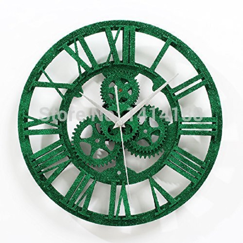 European retro gear to do the old gear wall clock malachite green bell clock fashion creative living room decorated powder(China (Mainland))