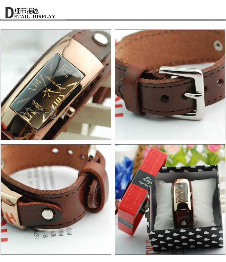 Hot selling fashion casual women dress watches ladies genuine leather strap watch men sport quartz wristwatch