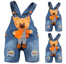 Fashion Baby Boy Cute Bear Denim Jeans Trousers Rompers Kid Playsuits Dungarees Overall
