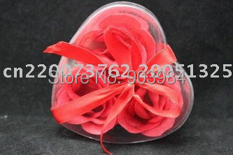 3PCS SCENTED ROSE SOAP FLOWERS WITH LEAVES IN HEARTS SHAPED PVC TRAY & BOX(China (Mainland))