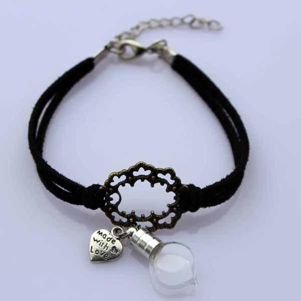 glass vial bracelets 5mm plain rice writing