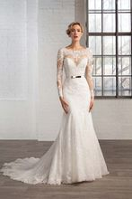Buy Robe Mariage 2016 Custom Made White/Ivory Tulle Beading Sequined Sash Lace Mermaid Long Sleeve Wedding Dress Bride Dress for $216.00 in AliExpress store