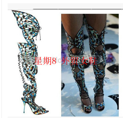 Hottest celebrity booties sexy butterfly cutout lace up thigh high boots patchwork summer style knee high boots shoes woman<br><br>Aliexpress