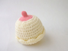 Crocheted Nipple Hat, Breastfeeding Hat,Baby Hat, Infant Hat, Boobie Beanie,0-3 months,4-6 months,unisex