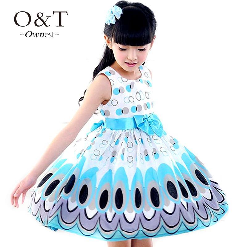 2015 Kids Girls Dress cute peacock color sleeveless princess dress circle Korean Fashion children's New clothes(China (Mainland))