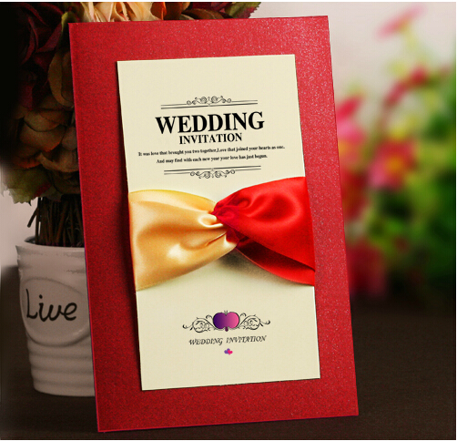 50pcs/lot DIY 2015 Red Purple color a true love knot romantic get married Korean wedding invitation card(China (Mainland))