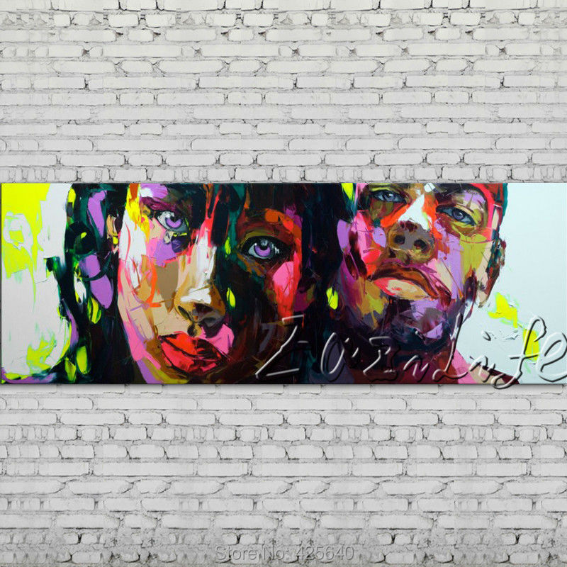 Buy Palette knife portrait Face Oil painting Character figure canva Hand painted Francoise Nielly wall Art picture for living room64 cheap