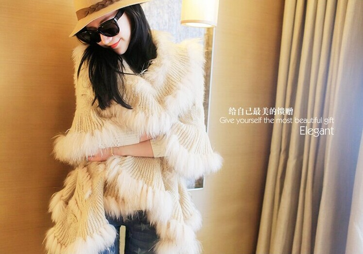 Europe, autumn and winter, fur coats Cable Knit rabbit fur shawl hooded cloak women sweaters and pullovers(China (Mainland))