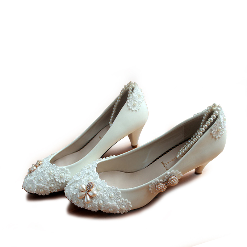 pearl white lace ankle quality wedding shoes bridal bridesmaid shoes