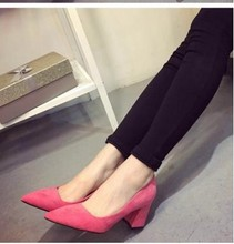 Free Shipping New Fashion Brand Shoes Woman Pointed Toe Square Heel High Heel Shoes PU Nubuck Leather Flock Women Shoes