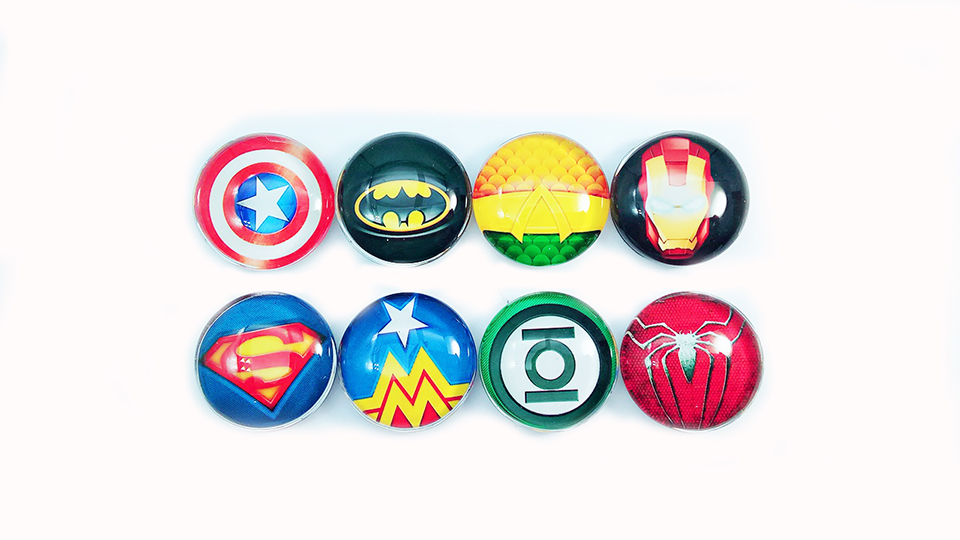 1piece 25mm Abstract Super Hero Symbol Fridge Magnets Crystal Glass The Avengers Refrigerator Magnetic Fridge Sticker D056