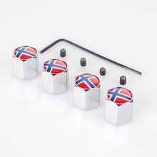 Free Shipping Metal Anti-theft Style Car Wheel Tire Valve Caps Tyre Dust Caps For Denmark Flag(China (Mainland))