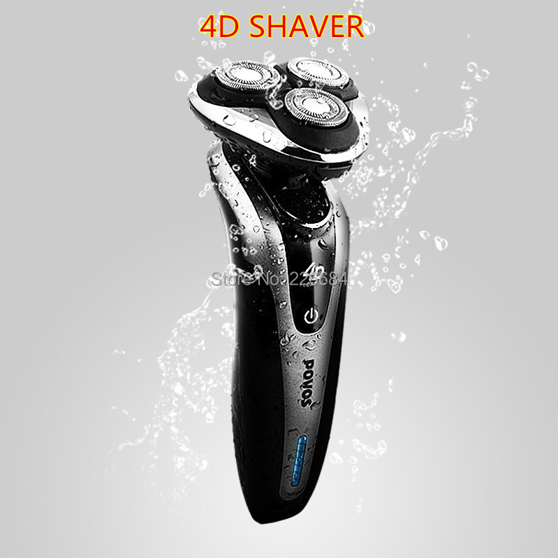 4D Rechargeable Electric Shavers for men Face care Beard trimmer Shaving razor Triple Blade LCD Washable 110V-240V POVOS PQ9200(China (Mainland))