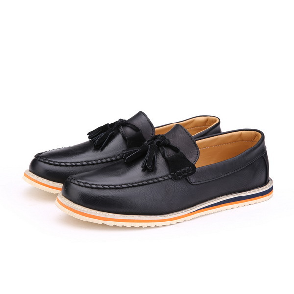 Eu 39-44 Good Supplier Men Fashion Loafers Boat Style Shoes Tassel Pattern Casual Handsome Man PU Leather Shoes Black Blue Brown(China (Mainland))