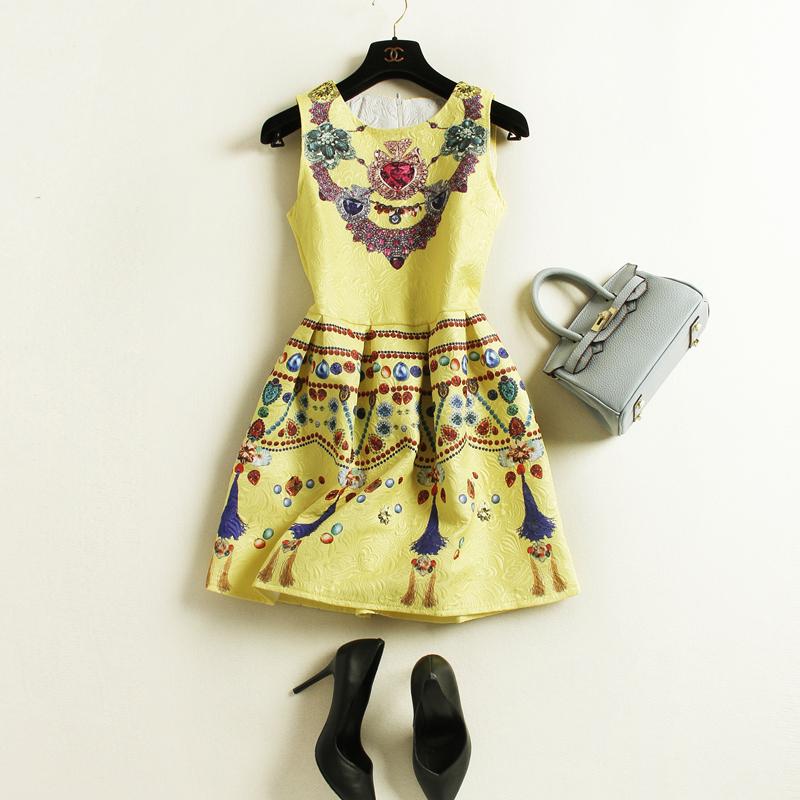 100% real High Quality Spring Women Sleeveless Digital Flower Print Dresses Short Dresses Vestido De festa Vestidos Femininos(China (Mainland))