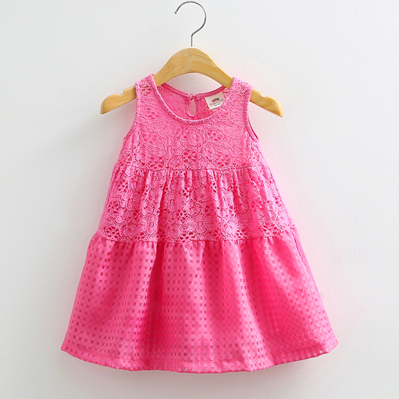 Girls Dresses Lace Summer Girl Summer Dress O-neck Sleeveless Dress For Girl Simple Casual Children Clothing 2334<br><br>Aliexpress
