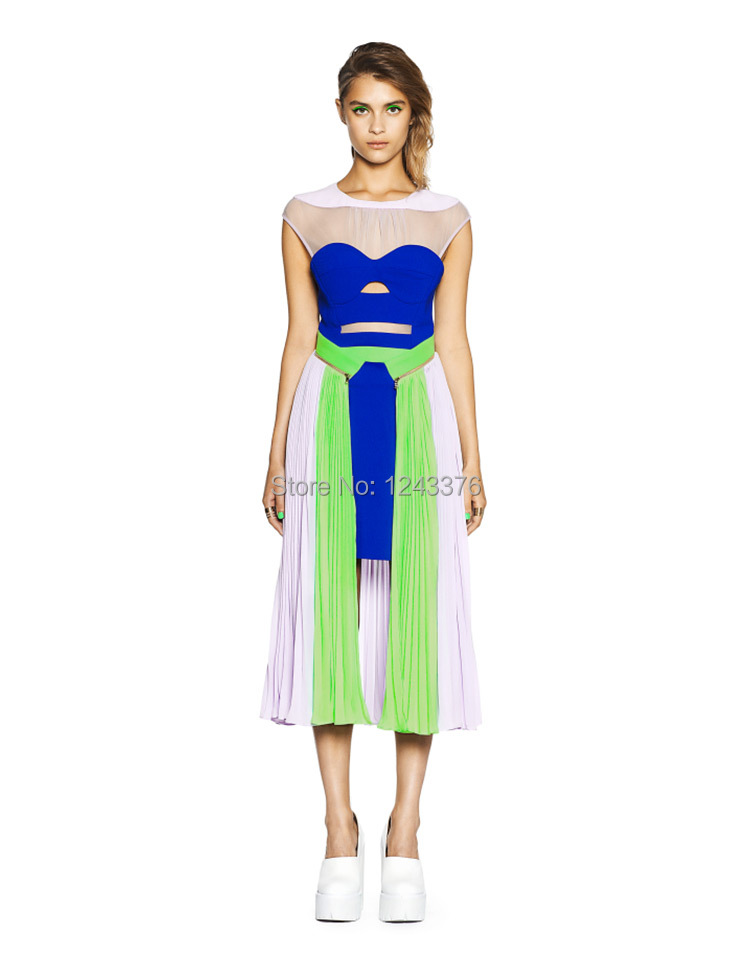 Tf color block chiffon one-piece dress medium-long 2015 spring and summer sexy beauty hot sale high quality blue and green Одежда и ак�е��уары<br><br><br>Aliexpress