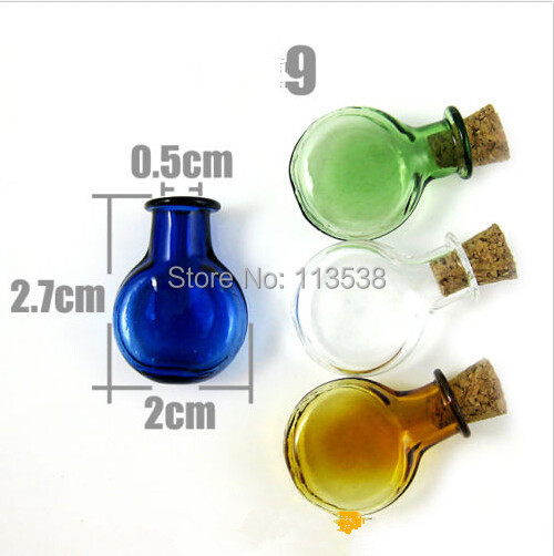 200pcs vial pendant Creative gifts mobile phone decorations oblateness wishing bottle DIY supplies glass bottle 4 color optional