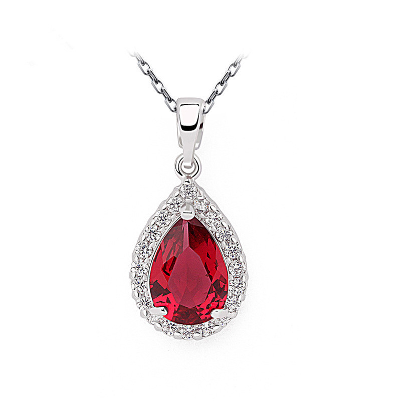 Wholesale Luxury Emerald Green Color CZ Water Zircon Crystal Pendant Necklace Women Platinum Plated Jewelry Christmas Gifts(China (Mainland))