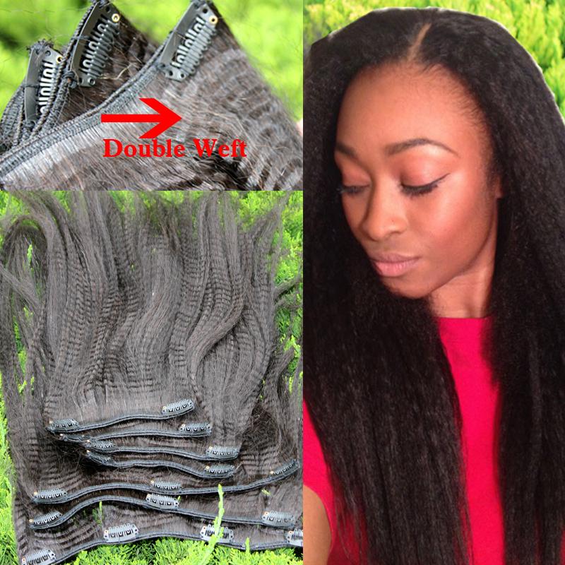 6A Virgin Brazilian Kinky Straight Human Hair 7Pcs Lot Italian Coarse Yaki Clip In Human Hair Extensions 120g Free Shipping(China (Mainland))
