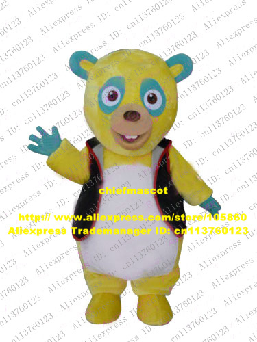 Funny Yellow Oso Bear Mascot Costume Mascotte Adult With Small Blue Yellow Ears Round Head Party Outfit Suit No.2560 Free Ship(China (Mainland))