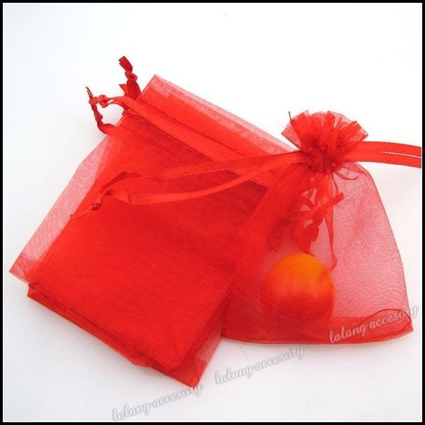 150pcs/lot  Wholesale New Red Pearl Organza Pouch Gift Bags Fit Wedding Party 70*90mm 120161