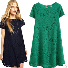 2015 New Women A-Line Dress Loose Short-sleeved Lace Dress Summer Style Bottoming Vestidos Women's Clothing