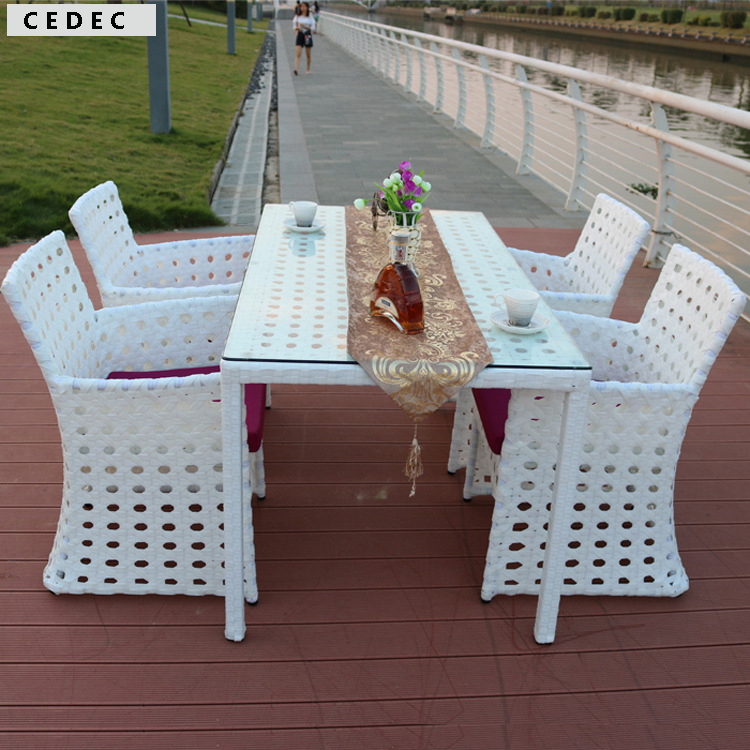5 Pc Patio Rattan Furniture Set Outdoor Backyard long square Dining Table and 4 Chairs White with cushion(China (Mainland))