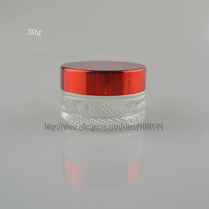 30g/ml Empty clear Glass Jar,Bottle, Container for cosmetics cream, eye serum, mask with red cap and inner lid cover.(China (Mainland))