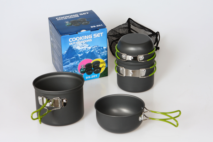 Free shipping DS-201 Non-stick Pots Pans Bowls Portable Outdoor Camping Hiking Cooking Set Cookware(China (Mainland))