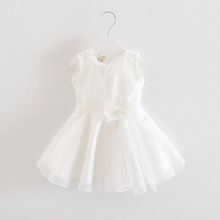 2016 Summer Fashion Baby Girl Dress Cute Pink White Girls Dresses Princess Bow Dress for Infant Girls Clothing Back Lace up