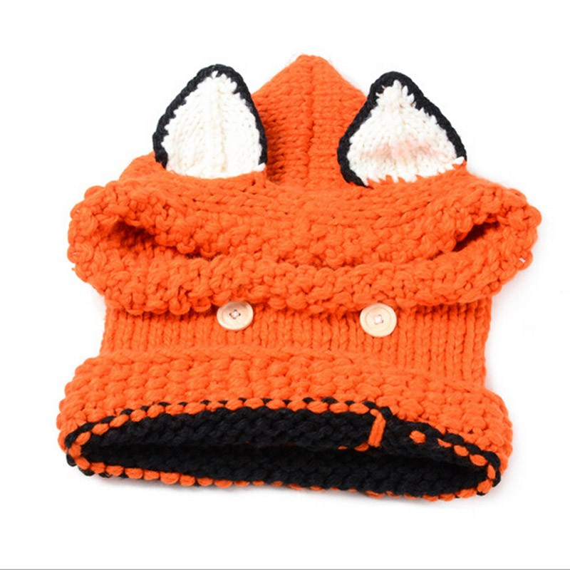 New Korean Winter Warm Neck Wrap Fox Scarf Caps Cute Autumn Children Wool Knitted Hats Baby Girls Shawls Hooded Cowl Beanie Caps