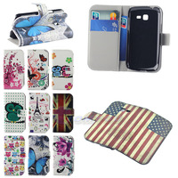 Retro US Flag Plum Blossom Butterfly Flip PU Leather Card Holder Wallet Case Cover For Samsung Galaxy Trend Lite S7390 S7392