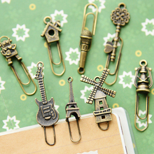 16 pcs/Lot Vintage Metal Bookmarks Paper clip Book marker page holder stationery office School supplies marcador de livro 6439(China (Mainland))